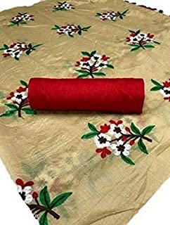 Any Fashion Women's Chanderi Cotton Flower Embroidery Work Skirt Pallu Saree With Matching Blouse