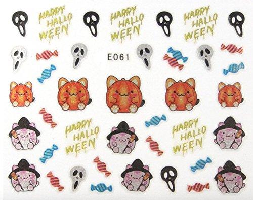 Générique Nail Art Autocollants Stickers Ongles: Décorations Halloween Chats sorcières Bonbons Masques