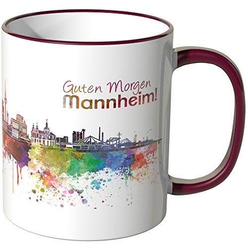 WANDKINGS® Tasse, Schriftzug Guten Morgen Mannheim! mit Skyline - Bordeaux