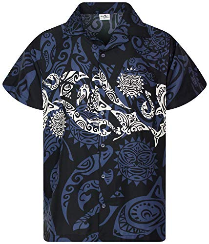 King Kameha Funky Hawaiihemd, Kurzarm, Maori Chest New, Schwarz, 6XL