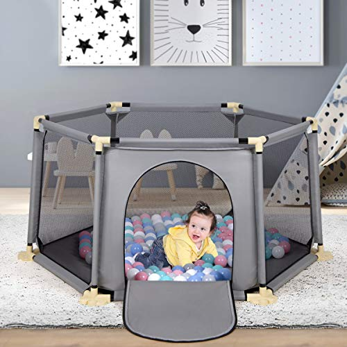 Baby Playpen, 6-Panel Portable Play Yard Playpen, Large Activity Playpen with Breathable Mesh for Baby Toddlers Infant, Indoor and Outdoor Play, Washable