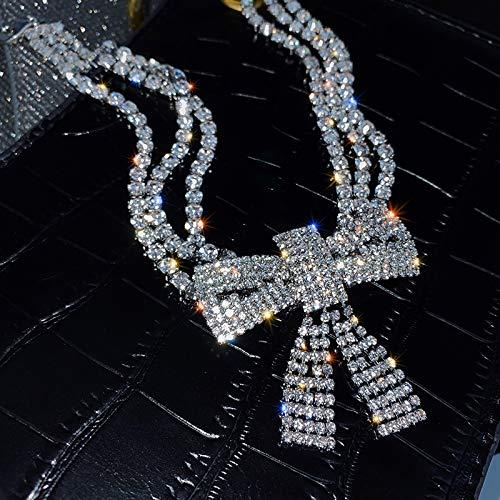 Collar súper sexy y súper celebridad ~ Mujeres europeas y americanas lujo ligero con cuello lazo diamantes y cuello cadena. Accesorios para fiestas y banquetes, regalos navideños para amigos y novias