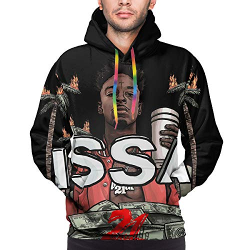 Adults Men Autumn Big & Tall Soft Hooded Outerwear for Beach Christmas Party 21-Savage Box Logo 3D Print Hip-Hop Design Pullover Hoodie Clothing - X-Large