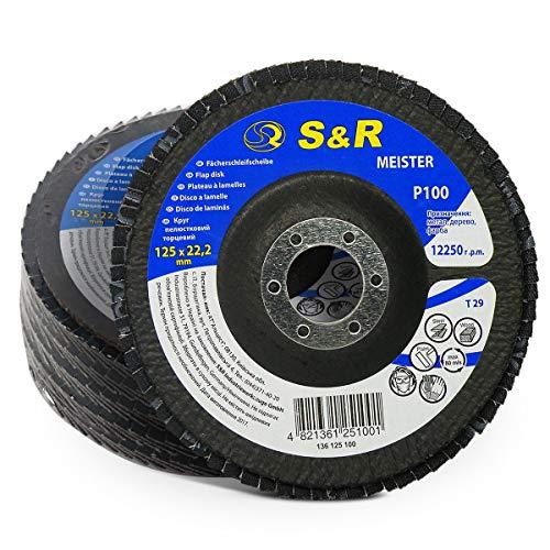 S&R Disco de Láminas Abrasiva 125 m x 22,23 para Acero y Madera, tamaño grano 100, 29 Dientes. Set 5 discos para amoladora angular.