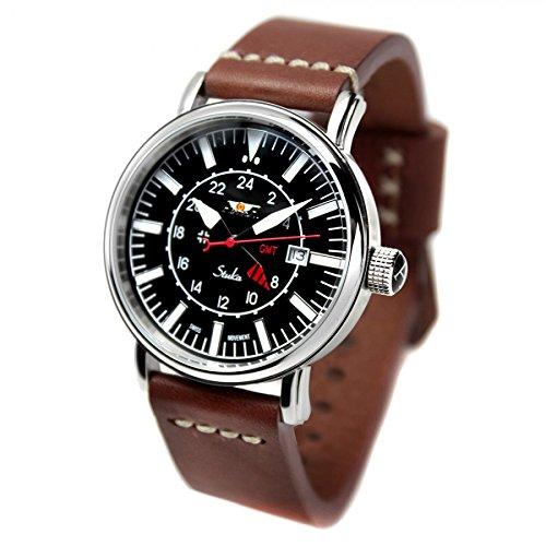 Reloj AVIADOR AV-1066-NPM - Reloj hombre edicion especial Stuka con esfera negra, GMT, correa en piel marrón envejecido pespunteada tipo NATO y grabación de Stuka en formación en la trasera.