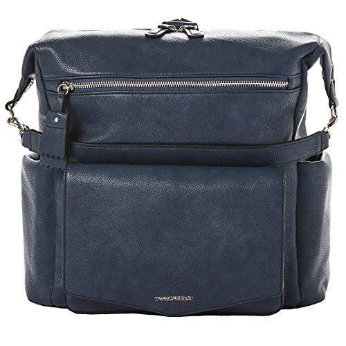TWELVElittle Peek A Boo Hobo Backpack with Changing Pad, Convertible, PEEK-A-Boo Diaper Bag, Vegan Leather, (Navy)