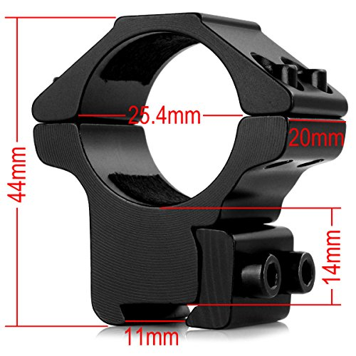 "LIRISY 1"" Dovetail Scope Mount Rings Medium Profile for 11mm Dovetail Rails (2 Pieces)"
