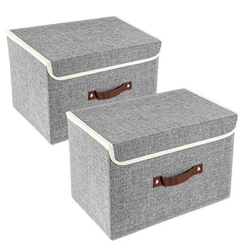 UMI. by Amazon 2er Pack Aufbewahrungsboxen mit Deckel und Griff, Faltbarer Aufbewahrungsboxen in Würfelform Grau