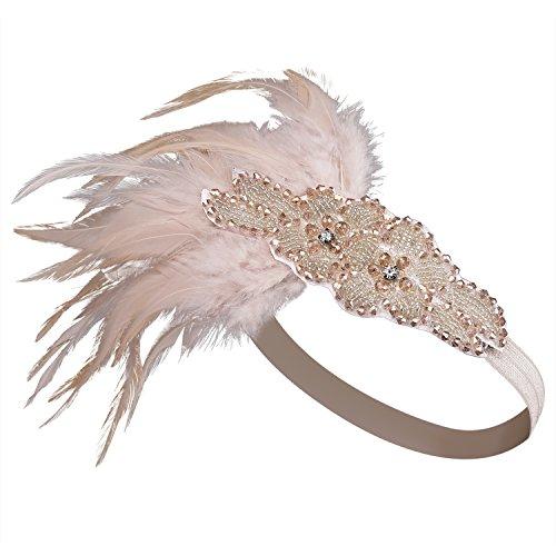 BABEYOND Frauen Kristall Haarband Perlen Stirnband Federn Flapper Stirnband Vintage Stirnband 1920 - 2