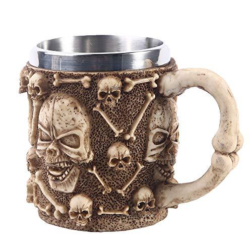 VOANZO Taza de café con Forma de Calavera de Metal con asa Taza de Cerveza con Forma de Calavera para Regalo del día del Padre