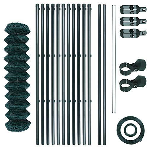 Maschendrahtzaun-Gartenzaun-Set verzinkt und grün beschichtet Maschenweite 6 x 6 cm, Zaunset, Drahtzaun, Maschendraht, Komplettset, Zaun-Set (0,8 x 25 m)