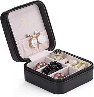 Vlando Small Faux Leather Travel Jewelry Box Organizer Display Storage Case for Rings..