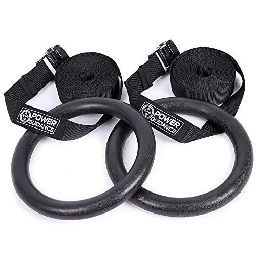 POWER GUIDANCE Gym Ringe Gymnastikringe Olympic Ringe mit Gurtband Gymnastik Ringe für Oberkörper-Kraft und Körpergewicht Excercising, Aufhänge Training - Maximale Belastung 270kg