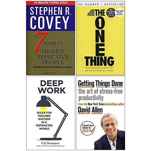 The 7 Habits of Highly Effective People, The One Thing, Deep Work, Getting Things Done 4 Books Collection Set
