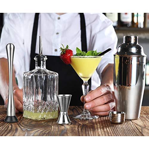 Hossejoy Hochwertiges Cocktailshaker Set,14 Teilig, mit Bambus-Aufbewahrung, inkl. Cocktail-Shaker, Doppeljigger, Messbecher, Bar Stößel, Bar Löffel, Ausgießer, Eiszange, Öffner, Hawthowe Strainer - 5