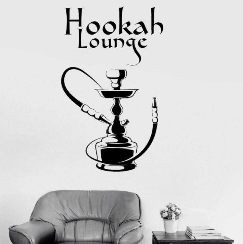Etiqueta de la pared del salón de la cachimba fumar Shisha árabe Bar hombre cueva decoración de interiores vinilo ventana pegatinas arte mural extraíble 57x35 cm
