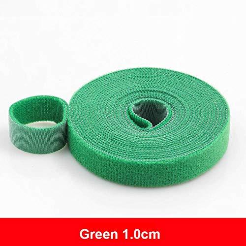 5 meter herbruikbare klittenband kleefband Sterke haken en lussen Kabelbinders Gordijn Nylon sluiting, 1,0 cm groen