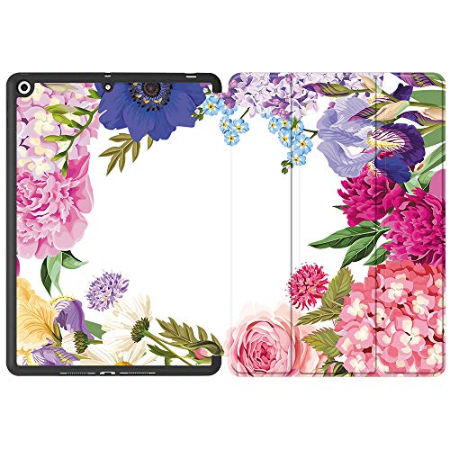 SDH iPad 10.2' 2019 Case with Apple Pencil Holder,Folio Stand Smart Cover Shockproof Soft TPU Back Shell for iPad 7th Generation 10.2 inch Tablet Sleeve Bag 2 in 1 Bundle,Flower World 2