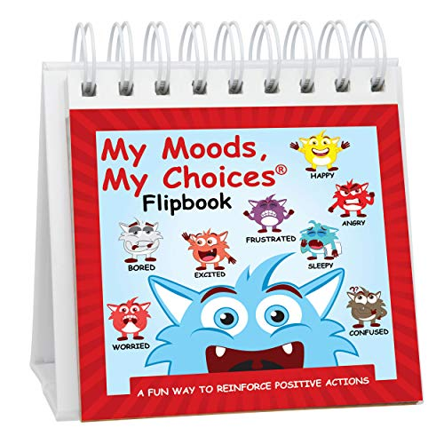 The Original Mood Flipbook for Kids; 20 Different Moods/Emotions; Autism; ADHD; Help Kids Identify Feelings and Make Positive Choices; Laminated Pages (Monster Flipbook - Travel Size)