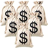 Boao 24 Pack Money Bag Pouch with Drawstring Closure Canvas Cloth and Dollar Sign Symbol Novelty Toy Party Favors Props