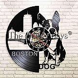 WJUNM 1 Divertido Boston Terrier Perro Vinilo Reloj de Pared con Registro Bulldog francés Mascota Cachorro decoración de Pared Reloj de Pared