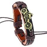 Joielavie Bracelet Cordon Moto Motocyclette Bronze Réglable Cuir Alliage Chaine de...