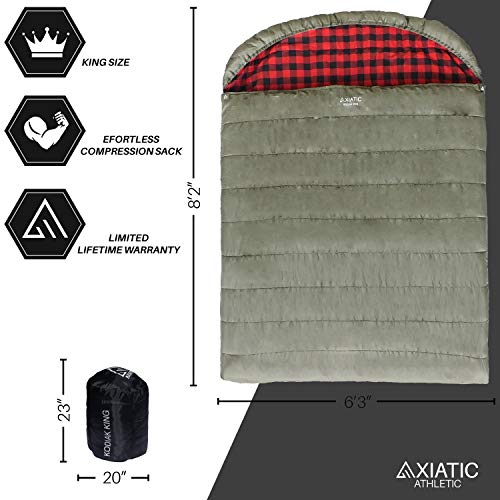 AXIATIC Kodiak King 20f King Size Oversize 2 Person Cold Weather Double Sleeping Bag; Comfortable, Heavy Duty Cotton Flannel, Waterproof for Winter, Camping, Couples and for Adults