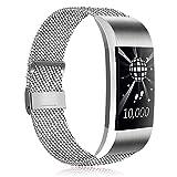 Amzpas pour Fitbit Charge 2 Bracelet, Sangle de Rechange en Acier Inoxydable Ajustable magnétique en Maille pour Fitbit Charge 2 Hommes Femmes Petites Grandes (01 Argent, L)