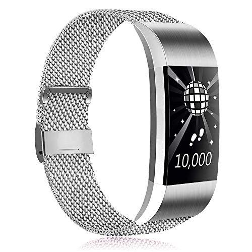 Amzpas Kompatible Für Fitbit Charge 2 Armband, Metall Magnetverschluss Edelstahl Ersatzarmband für Fitbit Charge 2 (01 Silber, L)