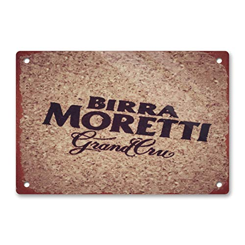 ALIALI KFQCIO Birra Moretti Cerveza Estilo 7 Retro Placa de Metal Decoración de Pared Patio Familiar Café Bar Restaurante Gas...