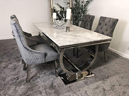 Arianna Grey Marble Mirrored Dining Furniture 1.6m Table and 4 or 6 Lion Chairs Set (1.8m with 4 Chairs)