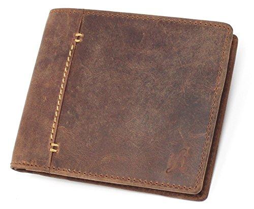 Starhide - Portafoglio da uomo in pelle con blocco RFID, 2 pezzi, colore: Marrone