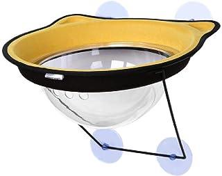 猫ハンモックベッドマウントウィンドウラウンジャーサクションカップ暖かいベッド小さなビッグペット猫レストハウスサンウォールベッドソフトケージワンサイズイエロー