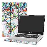 Alapmk Diseñado Especialmente La Funda Protectora de Cuero de PU para 14' ASUS Chromebook C423NA Series Ordenador portátil(No Compatible con:ASUS Chromebook C223NA C523NA),Love Tree