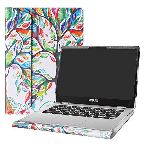 """Alapmk Diseñado Especialmente La Funda Protectora de Cuero de PU para 14"""" ASUS Chromebook C423NA Series Ordenador portátil(No Compatible con:ASUS Chromebook C223NA C523NA),Love Tree"""
