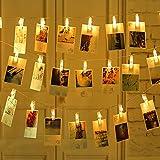 Cuzile LED clip string luci a pile per foto appendini a luce calda con 20 foto clip perfetto per appendere quadri, banconote, carte, appunti e opera