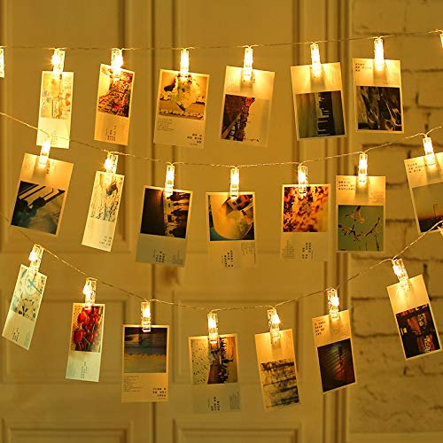CuZiLe LED Photo Clip String Lights Battery Powered Picture Hangers Warm White light with 20 Photo Clips Perfect for Hanging Pictures, Notes,Cards,Memos and Artwork