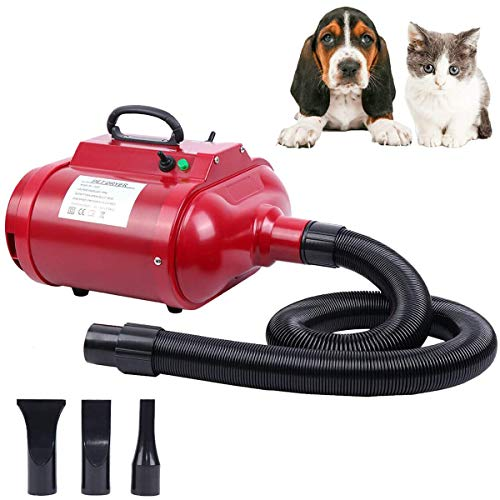 Yonntech 2800W Secador de Pelo para Mascotas Caninas Calentadora Perros Gatos Mascotas Doble Motor Secador de Cabello con Calentador Potencia Temperatura y Velocidad Ajustable (Doble Motor(Rojo))