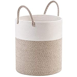 Mintwood Design Large 18 x 16 Inches Decorative Woven Cotton Rope Basket, Tall Laundry Basket Hamper, Blanket Basket for Living Room, Long Handle Storage Baskets for Toys, Towels, Throws, Pillows
