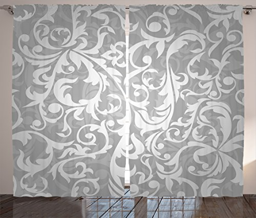 """Ambesonne Grey Curtains, Victorian Style Large Leaf Floral Pattern Swirl Classic Abstract French Vintage Print, Living Room Bedroom Window Drapes 2 Panel Set, 108"""" X 90"""", Gray"""