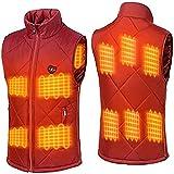 HWZZ Chaleco Calefactable para Hombres/Mujeres, Chaqueta Eléctrica con Calefacción con 9 Paneles Calefactores para Esquiar, Pescar (Sin Batería),Rojo,L