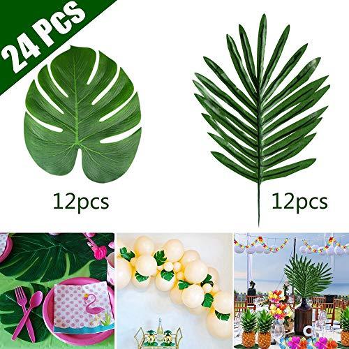 KUUQA - 24 hojas de palma tropical para decoración de fiesta, flores artificiales de simulación tropical para playa, diseño de selva, barbacoa, fiesta, suministros (2 estilos)