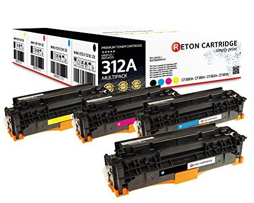 Original Reton Toner, kompatibel, 4er Farbset für HP 312A (CF380A CF381A CF382A CF383A), Color Laserjet PRO MFP M476, PRO MFP M476DN, PRO MFP M476DW Schwarz Cyan Magenta Gelb