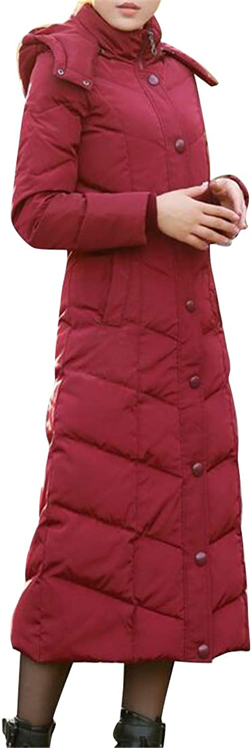Bravepe Women Classic Regular Fit Removable Hoodie Long Down Puffer Coat Quilted Jacket Overcoat