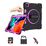 SUPFIVES iPad Pro 12.9 Case 2018/2020 4th Generation Case with Pencil Holder Support Wireless Charging+Hand Shoulder Strap+360 Rotatable Stand Shockproof Case for New iPad Pro 12.9'' 2020/2018(Rose)