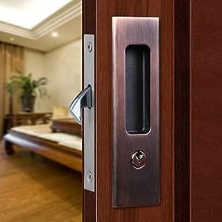 CCJH Invisible Door Locks Handle with Keys for Sliding Barn Wooden Door Furniture Hardware (Red Copper)
