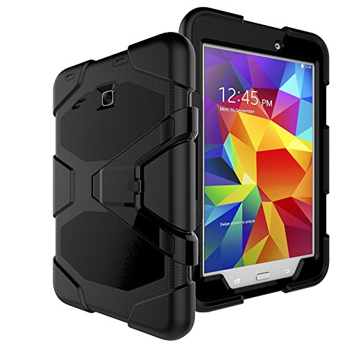 BAUBEY Samsung Galaxy Tab E 8.0' T377 Case,Rugged Kickstand Stand Heavy Duty Kids Proof Protective Case with Built-in Screen Protector for Samsung Galaxy Tab E 8.0 SM-T377 [2016] SM-T377 , Black