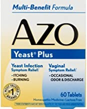 Pack of 6 - AZO Yeast Plus Multi-Benefit Formula Symptom Relief Homeopathic Medicine Tablets, 60 ct