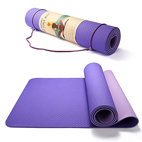 "TWING Eco Friendly TPE Yoga Mat For Kids 9-12 Girl Non-Slip Workout Mat for Yoga, Pilates and Exercises 72""x 26"" Thickness 6mm 1/4 Inch with Carrying Strap (violet+ light purple)"