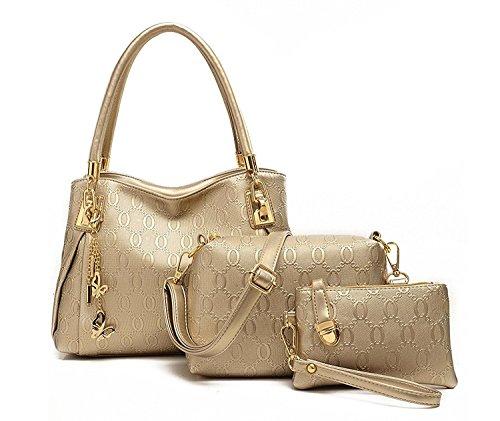 Di Grazia Women's Gold 3In1 Combo of Shoulder Bag, Satchel & Handbag (Gold,Gold-3In1-Combo-Bag)